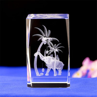 K9 Cube Crystal 3D Laser Engraved Elephant Cube Ornaments Glass Miniature For Love Gifts Home Decor Wedding Gift Car Ornaments