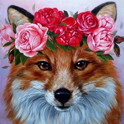 HUACAN Full Square Diamond Painting Fox 5D DIY Diamond Embroidery Animal Flower Mosaic Picture Of Rhinestone Decoration Home
