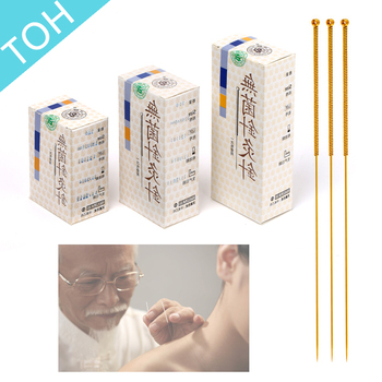 100pcs/box Cloud Dragon golden Acupuncture Needles sterilization individual package (Gold Painted Needles)