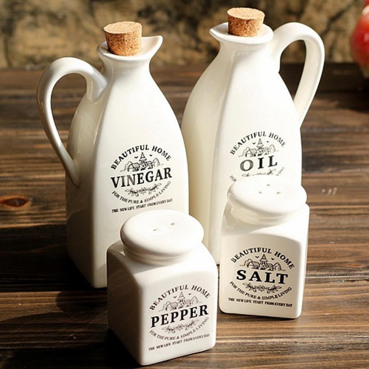 Spice-Jar Bottle Seasoning-Pot Salt Pepper-Vinegar Ceramic Wooden Kitchen Condiment Cooking