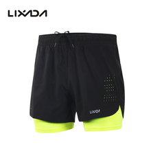 Lixada мужские шорты для бега 2 в 1 быстросохнущие дышащие спортивные шорты для бега с удлиненной подкладкой