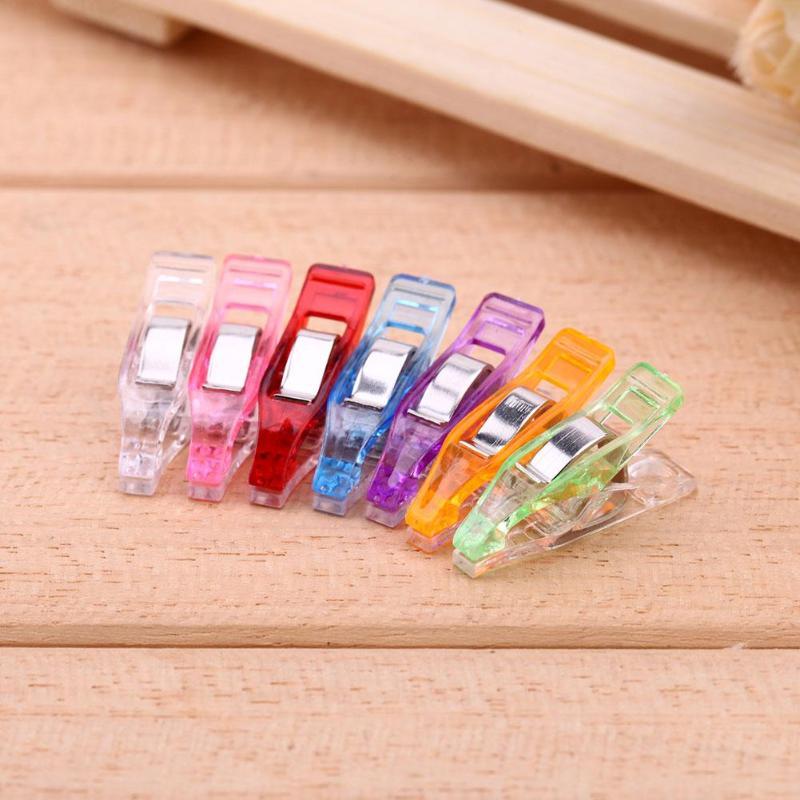 VODOOL 20pcs/50pcs/100pcs/lot Photo Stationery Clips DIY Plastic Hemming Fixed Clip Sewing Office Tools Random Color