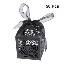 50PCS Gift Wrap Candy Boxes Hollow Floral Die-Cut Favor Boxes Gift Boxes Candy Container for Wedding Party Holiday(China)