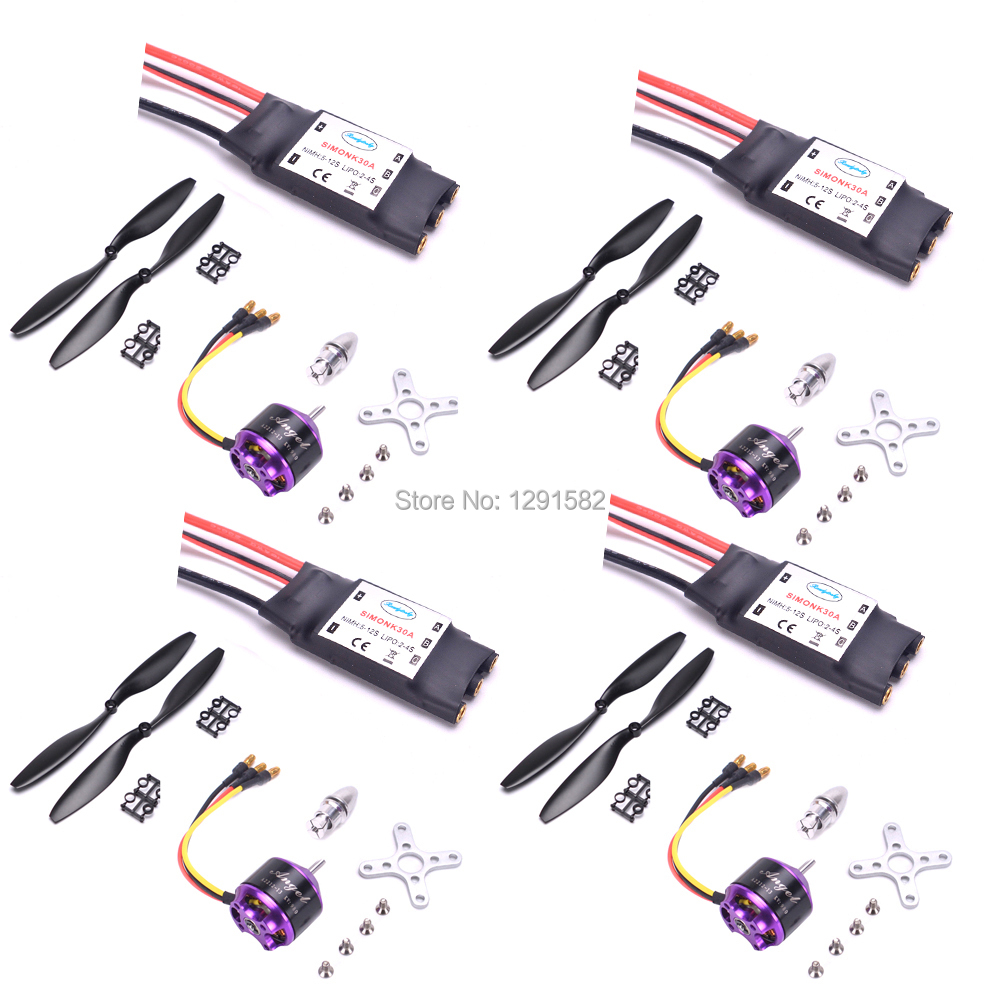 4set/lot A2212 2212 800KV Brushless Outrunner Motor 30A Simonk ESC 1045 Propeller Quad Rotor Set for RC Aircraft Multicopter