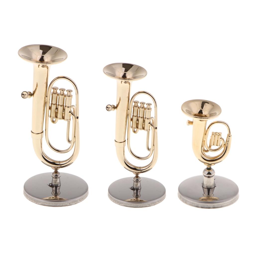 Tooyful Exquisite Copper Baritone Miniature Figurine Mini Musical Instrument Model House Office Studio Decoration