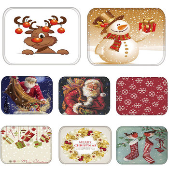 Mat in Hallway Kitchen Rubber Doormat Merry Christmas Santa Claus Home Decor Living Room Rug Anti-Slip Dustproof Carpet 48236-1 image