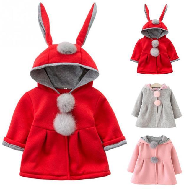 Trẻ sơ sinh Bé Gái Thỏ Hoodie Thu Đông Cho Bé Khoác Ngoài Công Chúa Áo Khoác Áo Khoác với Bóng Quà Tặng Giáng Sinh Năm Mới Quần Áo