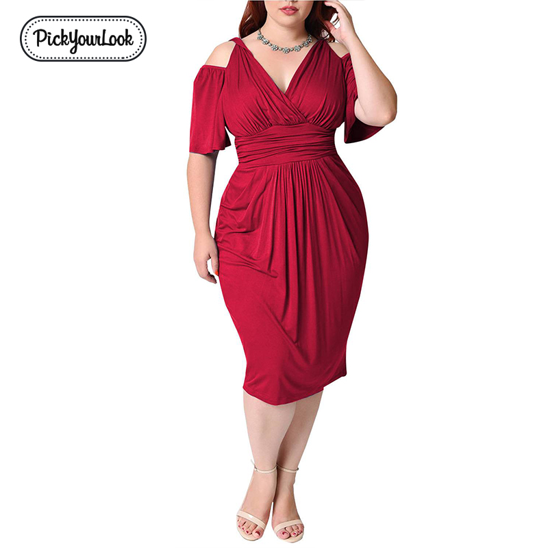 Pickyourlook <font><b>Women</b></font> Bodycon <font><b>Dress</b></font> <font><b>Plus</b></font> <font><b>Size</b></font> Solid Bandage V Neck Office Ladies Midi <font><b>Dress</b></font> Summer Wedding Party Vestido De Festa image