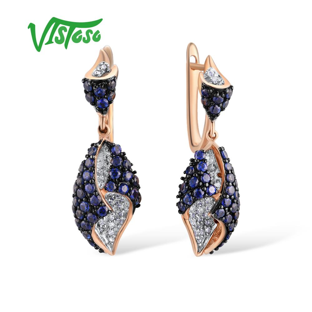 VISTOSO Gold Earrings For Women Genuine 14K 585 Rose Gold Sparkling Diamond Blue Sapphire Gorgeous Drop