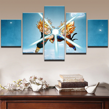 Canvas HD Prints Painting Wall Art Home Decor Frame Pictures For Living Room Artworks 5 Panel Cartoon Dragon Ball Poster PENGDA
