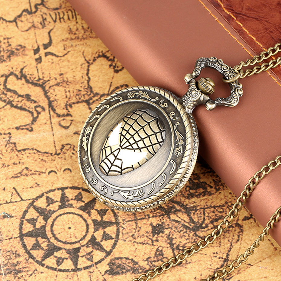 Retro Bronze Spider Man Theme Quartz Pocket Watch For Kids Exquisite Necklace Pendant Clock Gifts For Men Women Dropshipping