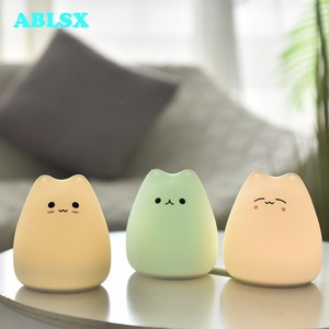 Image 1 - Animal Bedside Lamp Baby 3D Cartoon Small Cat Night Light For Bedroom Lamps AAA Battery Christmas Xmas Color Changed Nightlight