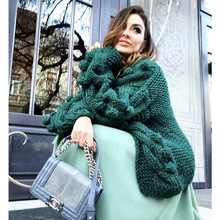 Green Knitted Cardigan Women Long Sleeve Ladies Cardigans Winter Warm Cable Knit Sweater 2019 Fashion Jumpers