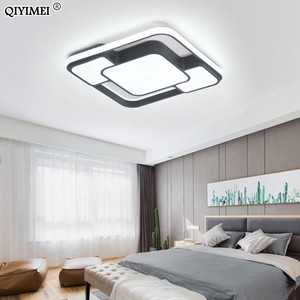 Image 5 - מודרני בית תפאורה led נברשת תאורת סלון חדר שינה קישוט לבן שחור ברזל גוף עם שלט רחוק משלוח חינם