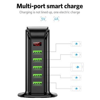 USLION 5 Port USB Charger HUB LED Display Multi USB Charging Station Dock Universal Mobile Phone Desktop Wall Home EU UK Plug 3