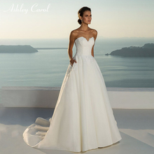 Ashley Carol Elegant A-Line Wedding Dress 2019 Sweep Train