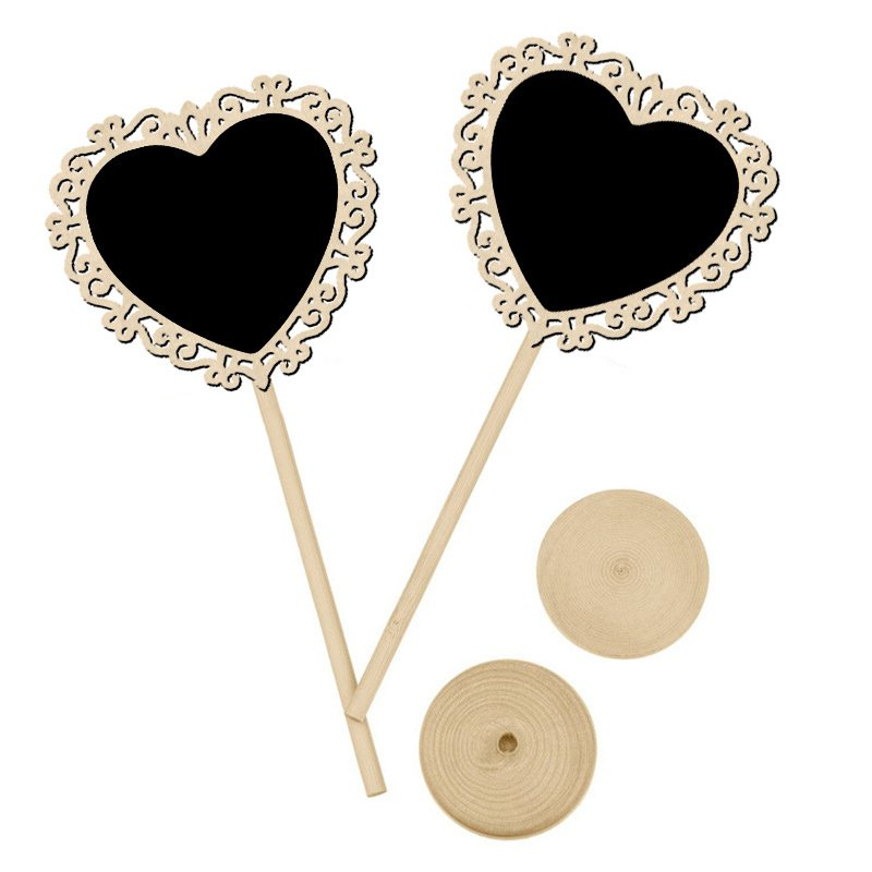 10 Pieces Heart Mini Blackboard Chalkboard Message Wedding Party Table Decoration Stand