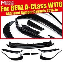 W176 Front  Bumper Canard Vent Rafts Splitter 8 Pcs Black Fits For Mercedes Benz A180 A200 A250 A45 Rear 2016-2018