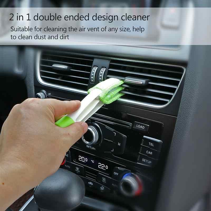 2 في 1 مزدوجة المنتهية سيارة الهواء تنفيس المنفضة الأنظف منظف تكييف سيارة فرشاة ل فتحة الزاوية الصغيرة مروحة لوحة المفاتيح اكسسوارات السيارات