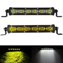 цена на 2pcs White Yellow 18W Led Light Bar Work Driving Barra Led 12V 24V Fog Headlight 4x4 4WD Off-road SUV ATV UTV Boat Pickup Truck