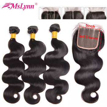 5x5 Closure With Bundles Body Wave Bundles With Closure Peruvian Hair Bundles With Closure Human Hair 5x5 Lace Closure Remy - DISCOUNT ITEM  59% OFF All Category