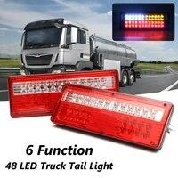 2Pcs Car 6 Function Tail reverse Light Turn Lamp brake Stop Light 24V LED Lorry Trailer Truck Caravan Tail Rear Light Lamp