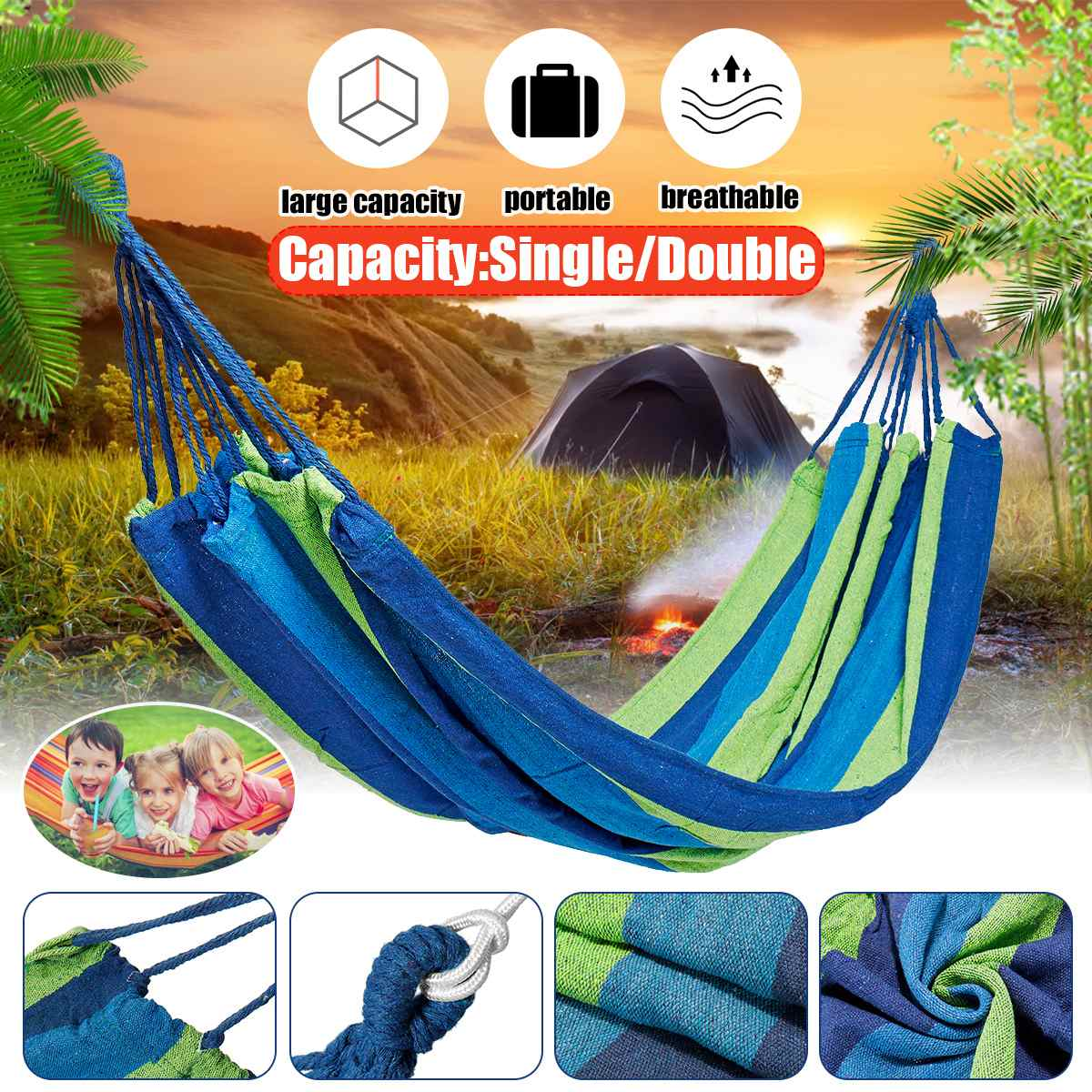 1 2 Person Portable Rope Hanging Hammock Swing Bed Camping