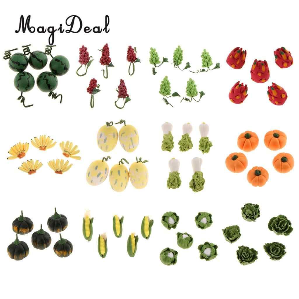 Symulacja 5 sztuk 1/12 skala kapusta domek dla lalek miniaturowe warzywa owoce jedzenie kuchnia wystrój ogrodu Acc dzieci udawaj zabawki