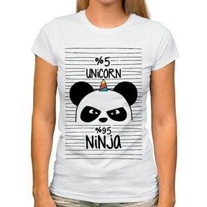 cute panda ninja keep calm and be a pandicorn funny t shirt Women new white o-neck casual kawaii girls tshirt femme