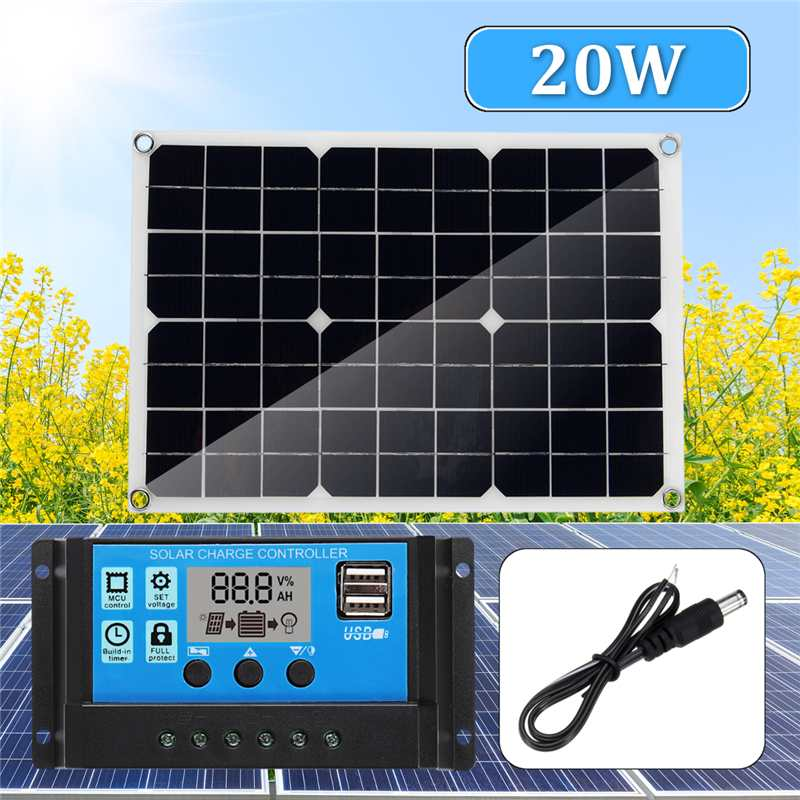 2019 New 3in1 Solar Power Panel Kit USB 20W Solar Panel 12V/5V 10A PWM Solar Charger Controller 30cm DC Male Cable2019 New 3in1 Solar Power Panel Kit USB 20W Solar Panel 12V/5V 10A PWM Solar Charger Controller 30cm DC Male Cable