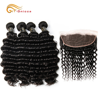 Peruvian Deep Wave Bundles With Frontal Remy Human Hair Bundles With Closure 3/4 Bundles With Ear To Ear Lace Frontal Closure