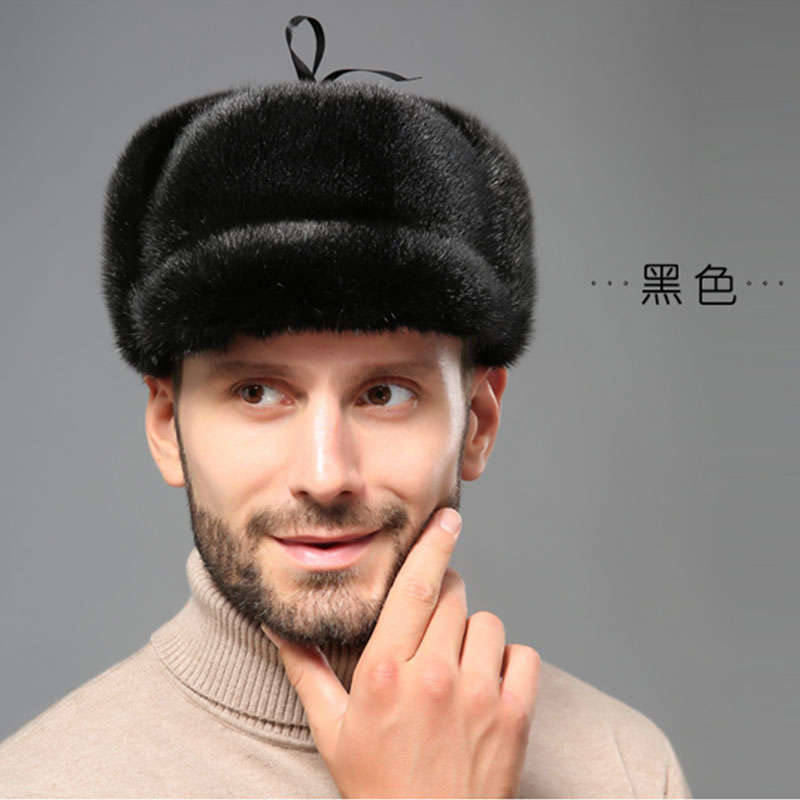 YECHNE Bomber-Cap Russia-Style Earflap Outside-Hat Mink-Fur Winter Genuine Man Warm Thicken