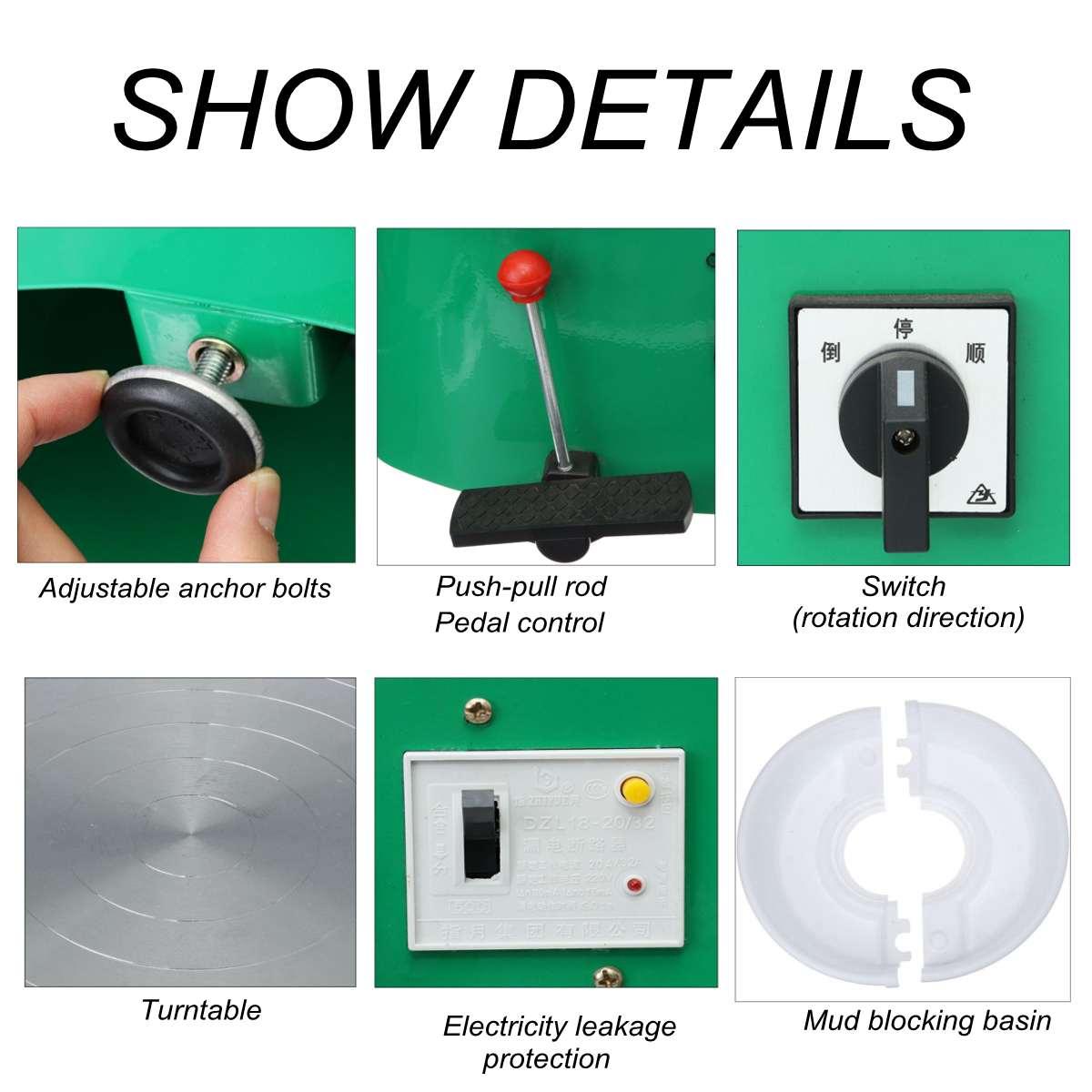 Tour De potier Machine 32 cm 220 V 350 W à manivelle et pédale contrôle Travail En Céramique Argile Art Avec Mobile lisse À Faible Bruit - 2