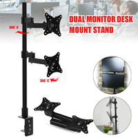 Dual Monitor Stand Rotation Double Arm Adjustable Desktop Holder for Computer Monitor within 14 24 Inch TV Mount Bracket Clamp