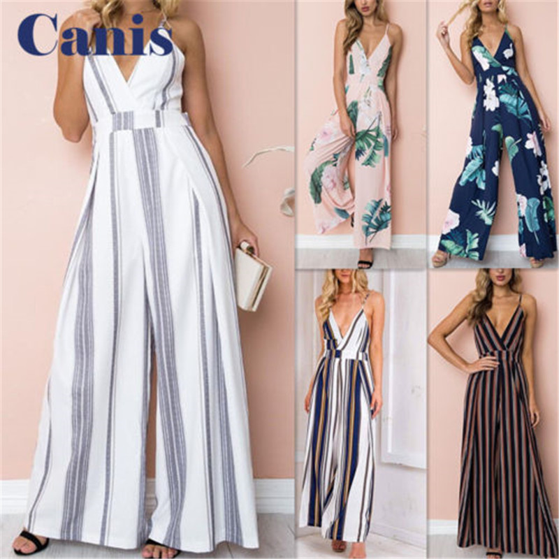 Fashion Women Jumpsuit Sleeveless Striped Jumpsuit Summer Romper Wide Leg Trousers Womens V-neck Casual Clubwear Outfits