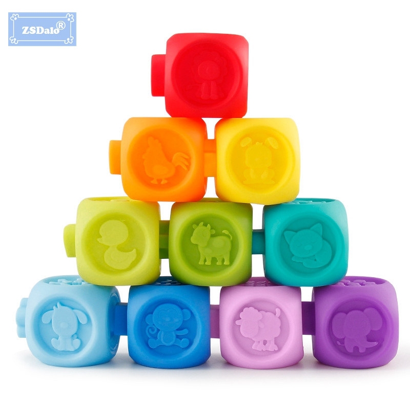 ZSDalo 10Pcs/Set Baby Learning Blocks Grasp Toy With Sound Soft Plastic Cube Building Early Educational Squeeze Bath