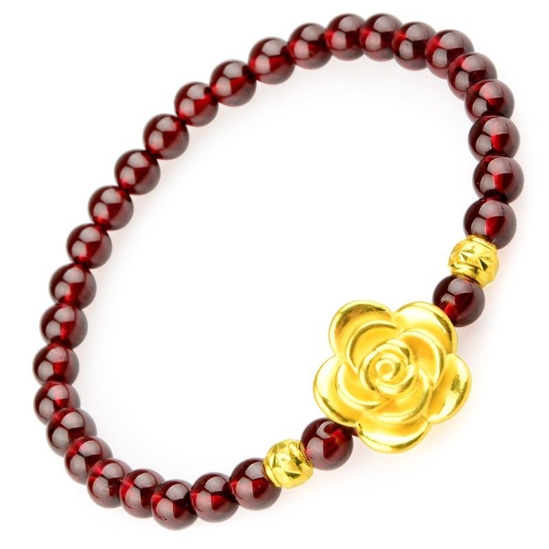 Solid 24k Yellow Gold Bracelet Rose Bead with Gold Bead Red Garnet Bracelet
