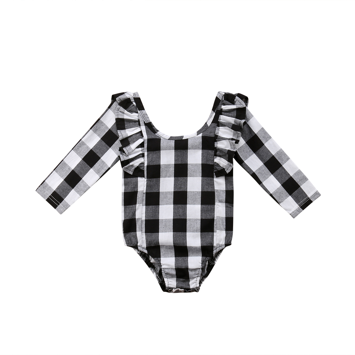 Newborn Infant Baby Girl Ruffle Long Sleeve Plaid   Romper   Jumpsuit Clothes Outfit Baby Clothing
