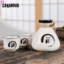 CAKEHOUD Japanese Sake Set Creative Ceramic Wine Home Insulation Glass Ceramics One Pot Two Glasses White