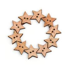 100 шт деревянные швейные пуговицы с пентаграммой и двумя отверстиями