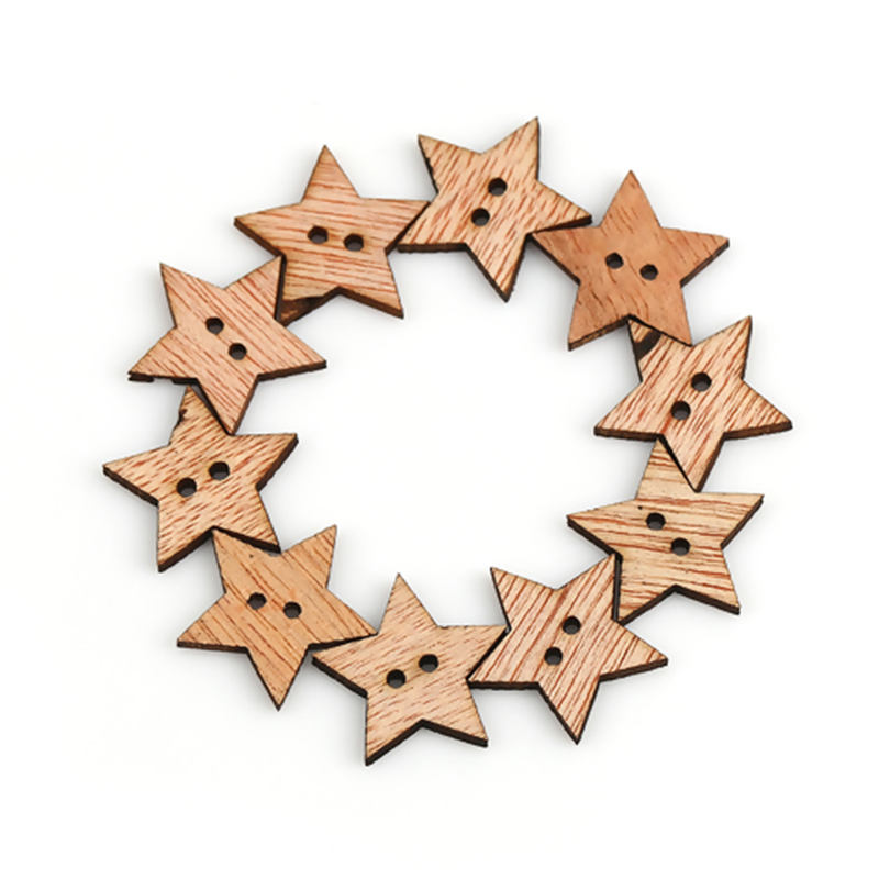 100PCs Natural Color Wooden Sewing Button Scrapbooking Garment DIY Accessory Two Holes Pentagram Star 19mm( 6/8