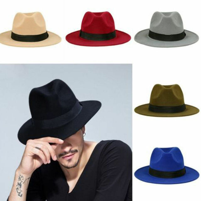 9b84b90cce9 Mens Women Thick Wool Vintage Felt Fedora Wide Brim Panama Bowler Trilby  Hat Cap Black Gray-in Fedoras from Apparel Accessories on Aliexpress.com |  Alibaba ...