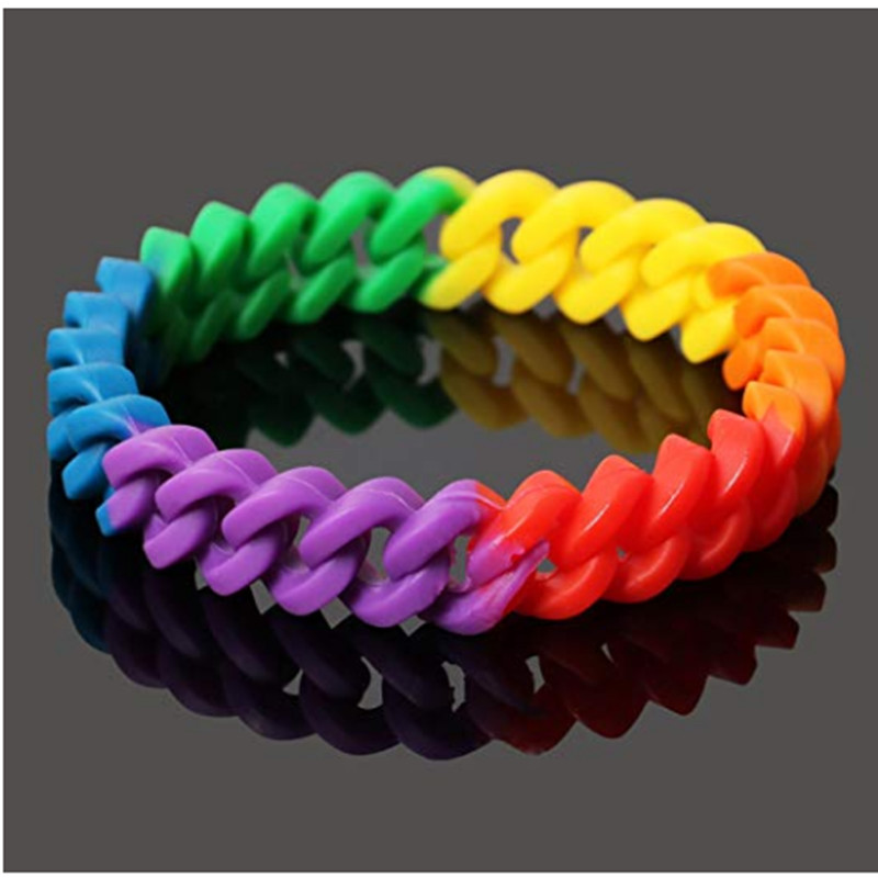 100pc We stand together Gay pride rainbow bisexual lesbian silicone wristband bracelet for Lesbian Trans pride