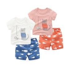 Комплект из 2 предметов, футболка с короткими рукавами и рисунком котенка и шорты, детская одежда, 100% хлопок, летний комплект одежды для новорожденных мальчиков и девочек