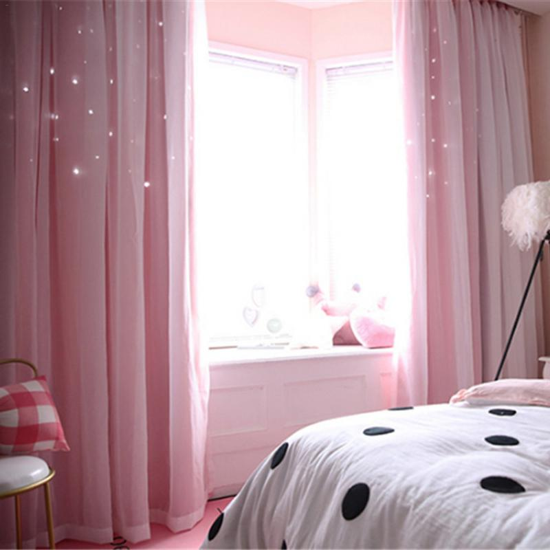 Double Layer Gauze Stars Curtains Hollowed Out Shading Nordic Style Romantic Decorative Bay Window Curtain For Home Living Room
