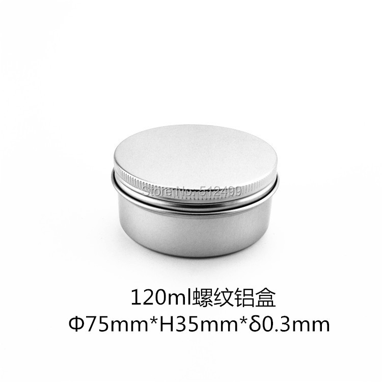 120g refillable box empty round aluminum metal tin cans bottle with lids 120ml cosmetic cream box DIY seal 75*35mm aluminum jar