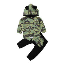 Boys Kids Clothing Children Boy Clothes Ears Hooded Long Sleeve Tops Pants Outfits Camouflage Boys Clothes Set Cotton Tracksuit baby boys clothing set cotton 2 pcs boy costume long sleeve boy sport suit tiger pattern kids clothes tracksuit harem pants 0 8t