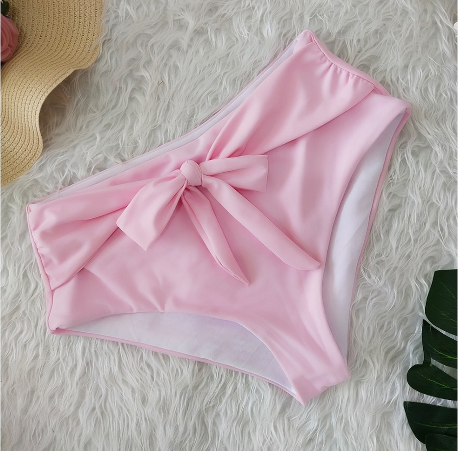 Female Sexy Bikini Shorts Swimwear Fashion Solid Color Bandage Ruffled High Waist Swimming Pants Beachwear