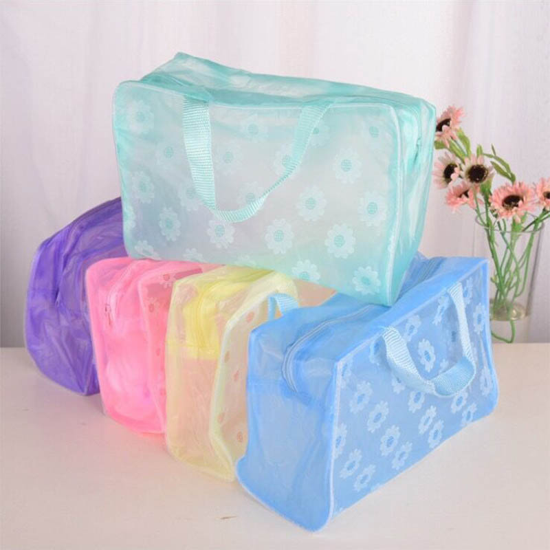 Floral Cosmetics Bag Save Space Waterproof Make Up Organizer PVC Toiletry Bathing Storage Transparent Travel Accessories