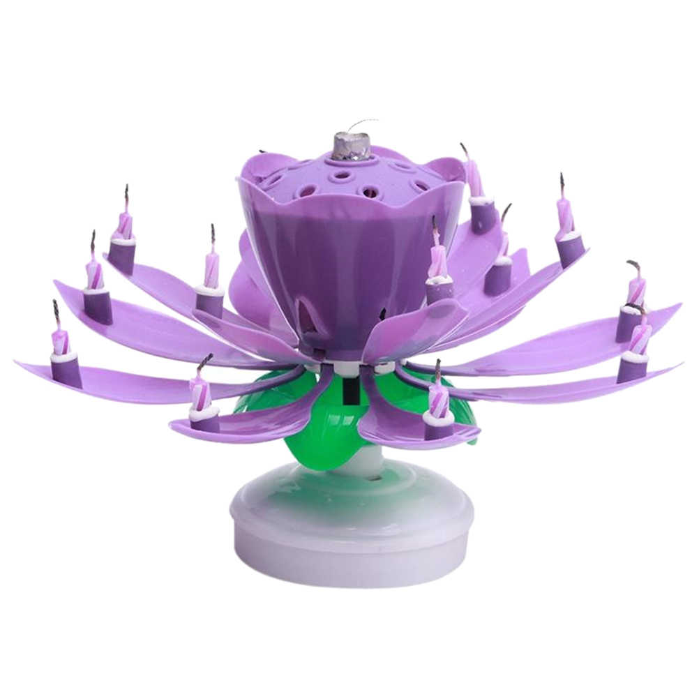 Detail Feedback Questions About Blooming Lotus Flower Musical Candle Birthday Purple On Aliexpress